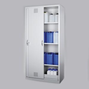 0320004502 - Chemikalienschrank, mit Schiebetüren, lichtgrau, Bauhöhe 1950mm, Breite 1800mm
