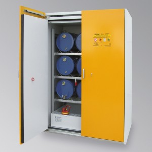 0320008901 - Sicherheits-Fass-Schrank, Typ 90, Bauhöhe 2200mm, Breite 1550mm, für bis zu 6 Stück 60l-Stahlfässer und 1 Gitterrostebene zur Kleingebindelagerung