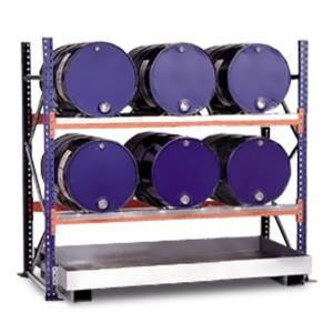 03800089 - Steckregal mit Auffangwanne für bis zu 6 Stück 60l-Fässer, liegende Lagerung