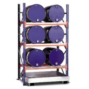 03800091 - Steckregal mit Auffangwanne für bis zu 6 Stück 200l-Fässer - Grundeinheit