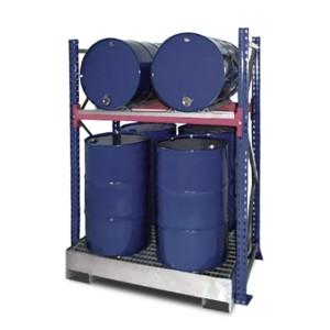 03800094 - Steckregal mit Auffangwanne und Gitterrost für 200l-Fässer - Grundeinheit