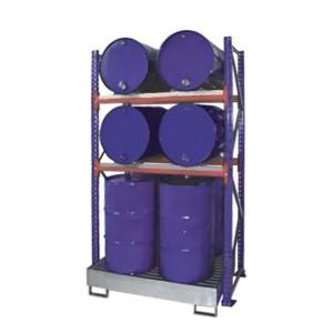 03800096 - Steckregal mit Auffangwanne und Gitterrost für bis zu 8 Stück 200l-Fässer - Grundeinheit