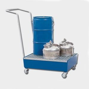 04200013 - Fahrbare Auffangwanne aus Stahl, 60l, für 2 Stück 60l-Fässer, pulverbeschichtet RAL 5010 blau