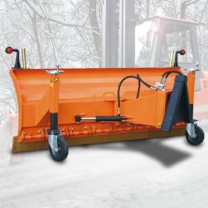07300002 - Schneeschild Schneeschild mit Federklappsegmenten, Stützräder & Vulkollanschürfleiste