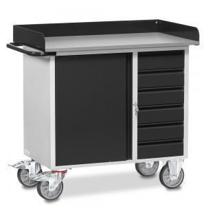 01600925 - Fetra Werkstattwagen mit einem Schrank und sechs Schubladen, abschließbar, Grey Edition