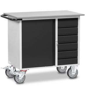 01600922 - Fetra Werkstattwagen mit einem Schrank und sechs Schubladen, abschließbar, Grey Edition