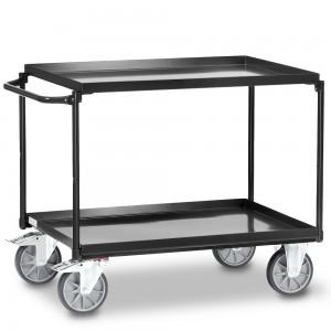 01600917 - Fetra Stahl-Tischwagen mit zwei öldichten Stahlblechwannen, Grey Edition