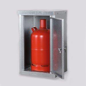 03200021 - Kleingasflaschenschrank, komplett aus verzinktem Stahlblech für 1 oder 2 Stück 11kg oder 1, 2, 3 oder 4 Stück 33kg Gasflaschen