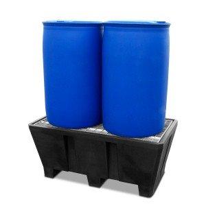 0320003204 - Auffangwanne aus PE, 400l, für 4 Stück 200l-Fässer, mit verzinktem Gitterrost