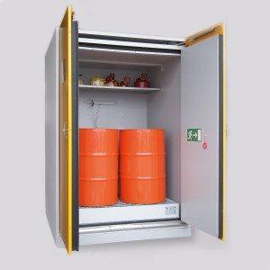 03200091 - Sicherheits-Fass-Schrank Typ 90, Schrankbreite 1550mm, für 4 Stück stehende oder liegende 200l-Fässer bzw. 1 Stück 1000l IBC/KTC