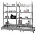 00600024 - Kleingebinderegal - Grund und Anbauregal, mit 4 verzinkten Fachböden und Auffangwanne
