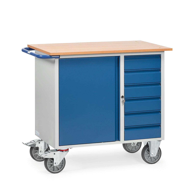 werkstattwagen mit schrank und sechs schubladen abschlie bar 01600051 online kaufen. Black Bedroom Furniture Sets. Home Design Ideas