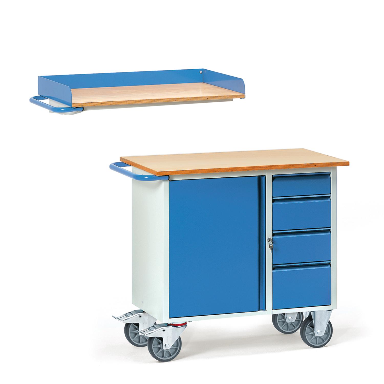 werkstattwagen mit schrank vier schubladen 01600054. Black Bedroom Furniture Sets. Home Design Ideas