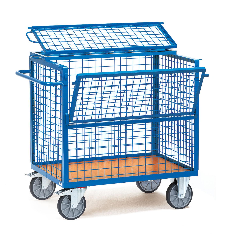 kasten transportwagen mit drahtgitterw nden und deckel online kaufen kastenwagen. Black Bedroom Furniture Sets. Home Design Ideas