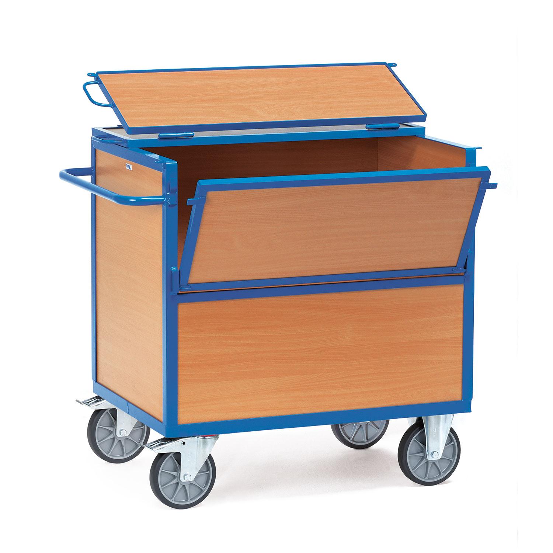 kasten transportwagen mit holzw nden und deckel online kaufen kastenwagen schrankwagen. Black Bedroom Furniture Sets. Home Design Ideas