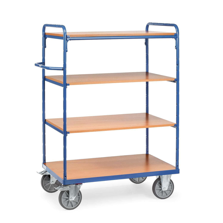 etagen transportwagen mit vier ebenen und schiebeb gel online kaufen etagenwagen mit 4 b den. Black Bedroom Furniture Sets. Home Design Ideas