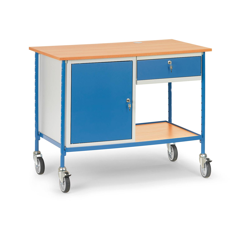 Tischwagen mit zwei Ebenen, Stahlschrank und Schublade aus