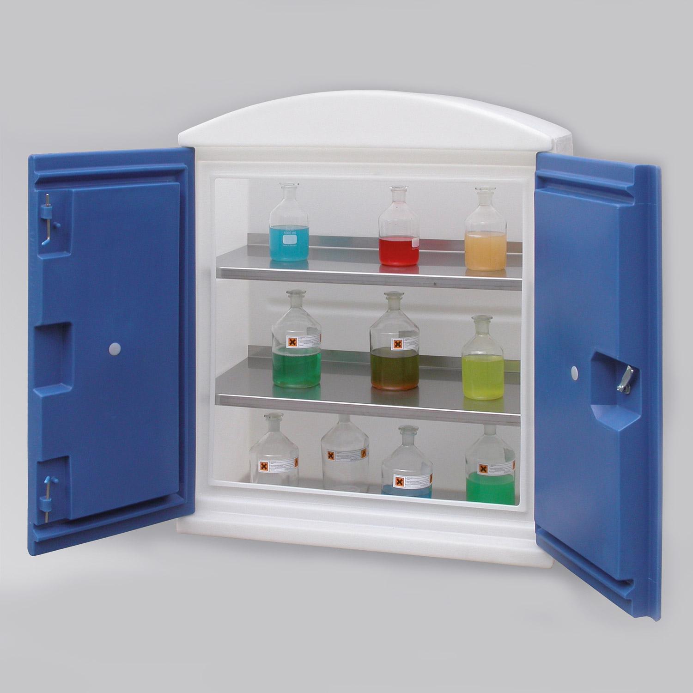 umweltschrank aus pe, bauhöhe 1180mm oder 1835mm, türfarbe rot oder blau